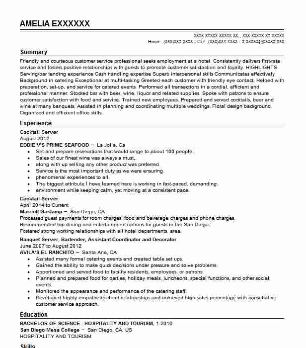 cocktail waitress resume for you server job description nursing student examples Resume Cocktail Server Job Description Resume