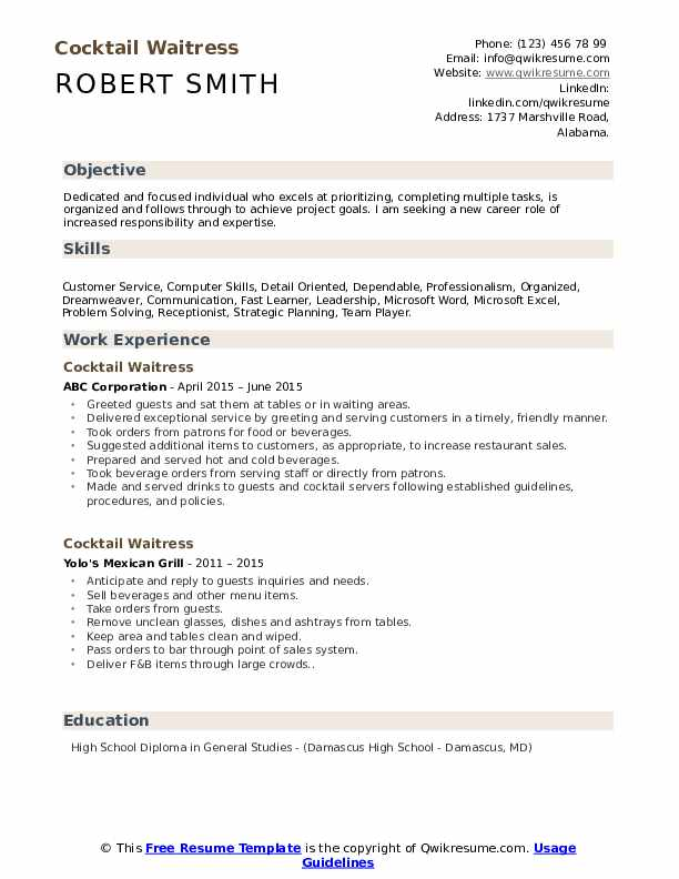 cocktail waitress resume samples qwikresume server job description pdf crear en espanol Resume Cocktail Server Job Description Resume