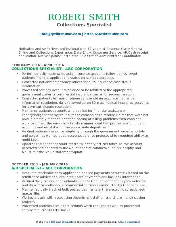 collections specialist resume samples qwikresume medical billing and pdf builder Resume Medical Billing And Collections Specialist Resume