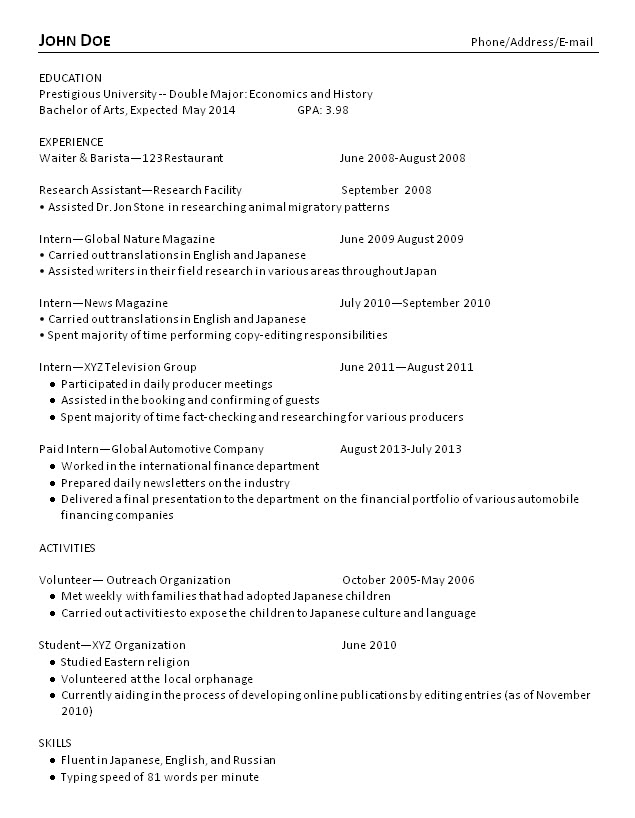 college grad resume examples and advice makeover recent graduate old new skills for Resume Recent College Graduate Resume Examples