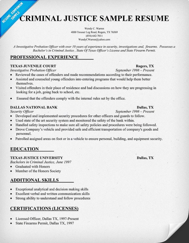 college graduate resume examples sample for recent criminal justice example standard Resume Sample Resume For Recent College Graduate Criminal Justice