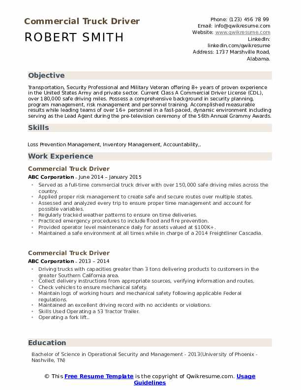commercial truck driver resume samples qwikresume template word pdf copy editor sample Resume Truck Driver Resume Template Word