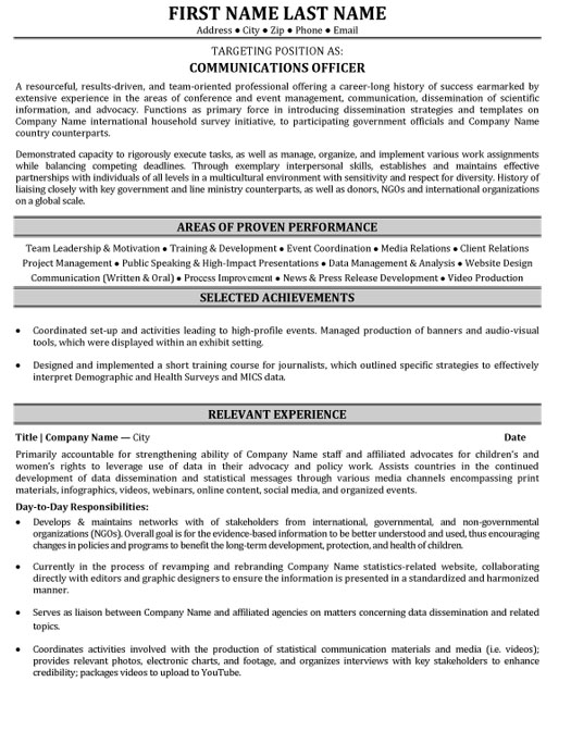 communications officer resume sample template public relations mm objective for Resume Public Relations Officer Resume
