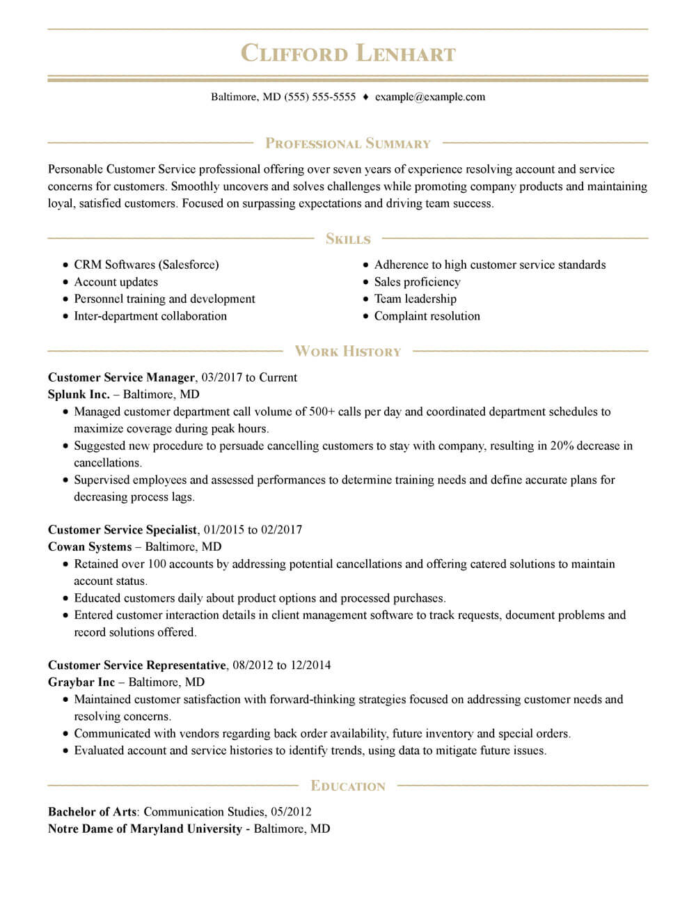 complete guide to resumes availability resume example customer service manager pinstripe Resume Availability Resume Example
