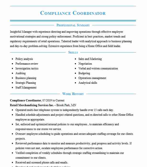 compliance coordinator resume example premier home health care scotch plains new job Resume Compliance Coordinator Job Description For Resume