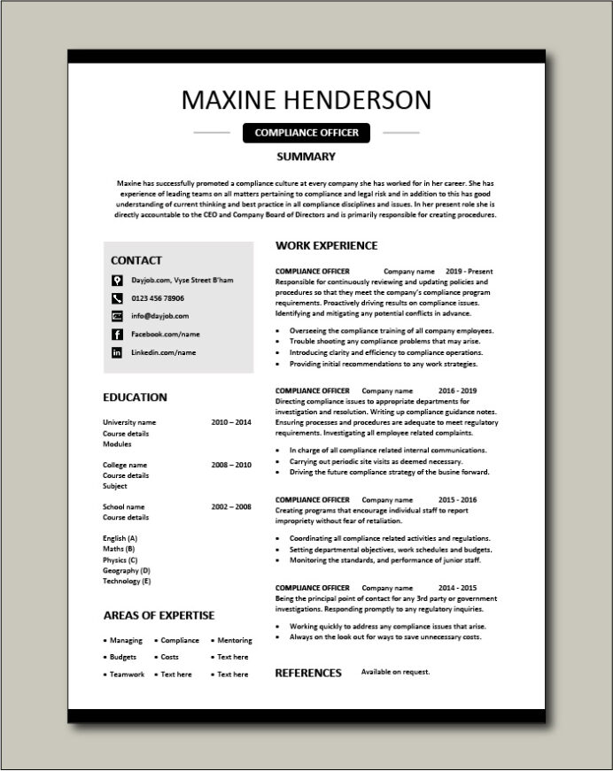 compliance officer resume objective sample example regulations job description policy Resume Brief Objective For Resume