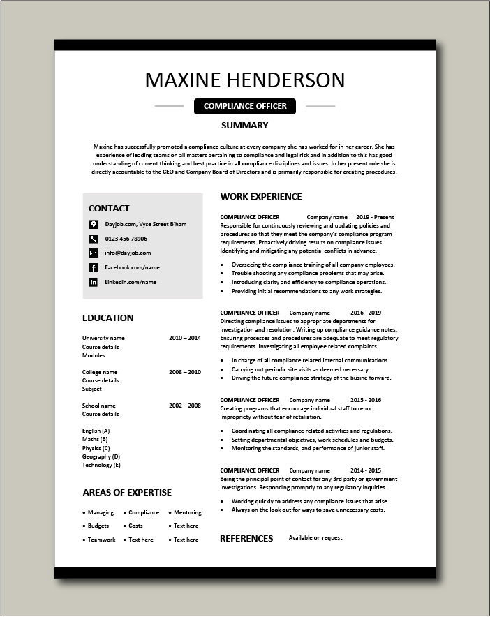 compliance officer resume objective sample example regulations job description policy Resume Compliance Officer Resume