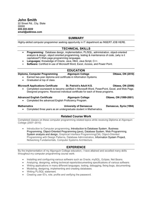 computer programmer resume sample template student it perfect format workshops aerospace Resume Computer Programmer Resume Sample