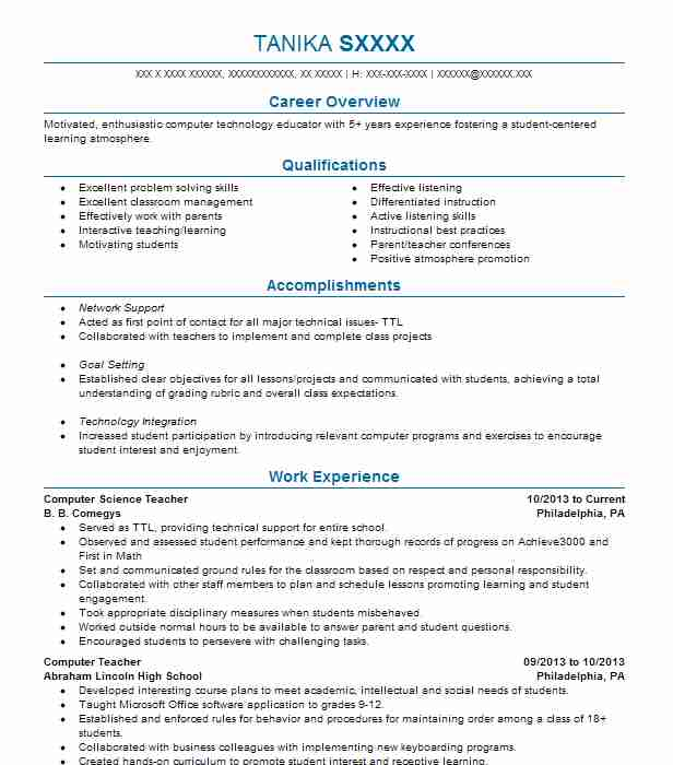 computer science teacher resume example resumes livecareer skills for sap mdg ccna format Resume Skills For Science Teacher Resume