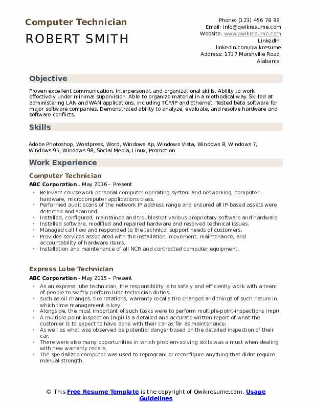 computer technician resume examples best electronic pdf airbnb viral senior vice Resume Electronic Technician Resume