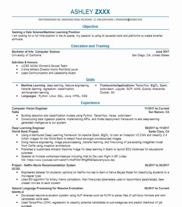 computer vision engineer resume example sedona studios gainesville abap hana fabricator Resume Computer Vision Engineer Resume