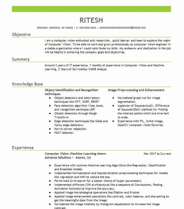 computer vision engineer resume example yadle mountain view security supervisor summary Resume Computer Vision Engineer Resume
