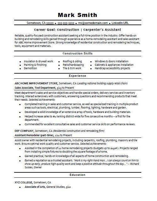 construction carpenter assistant resume sample monster examples paramedic objective Resume Construction Resume Examples