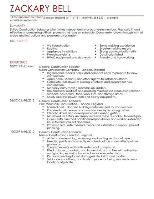 construction cv templates samples examples sample resume for building contractor full Resume Sample Resume For Building Contractor