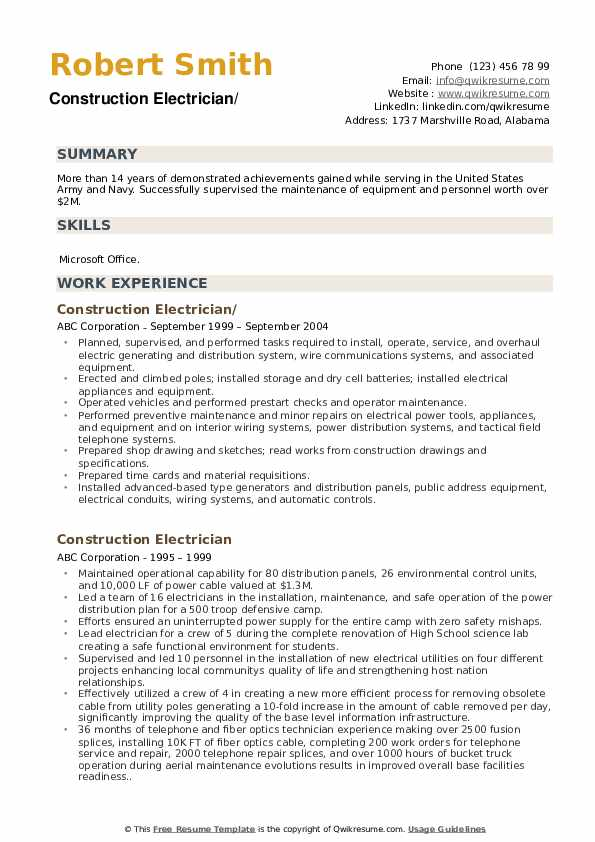 construction electrician resume samples qwikresume pdf responsibilities on examples Resume Construction Electrician Resume