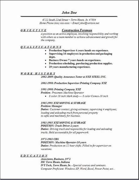 construction foreman resume occupational examples samples free edit with word supervisor Resume Construction Supervisor Resume