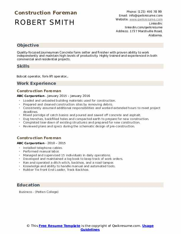 construction foreman resume samples qwikresume industry pdf good entry level another word Resume Construction Industry Resume