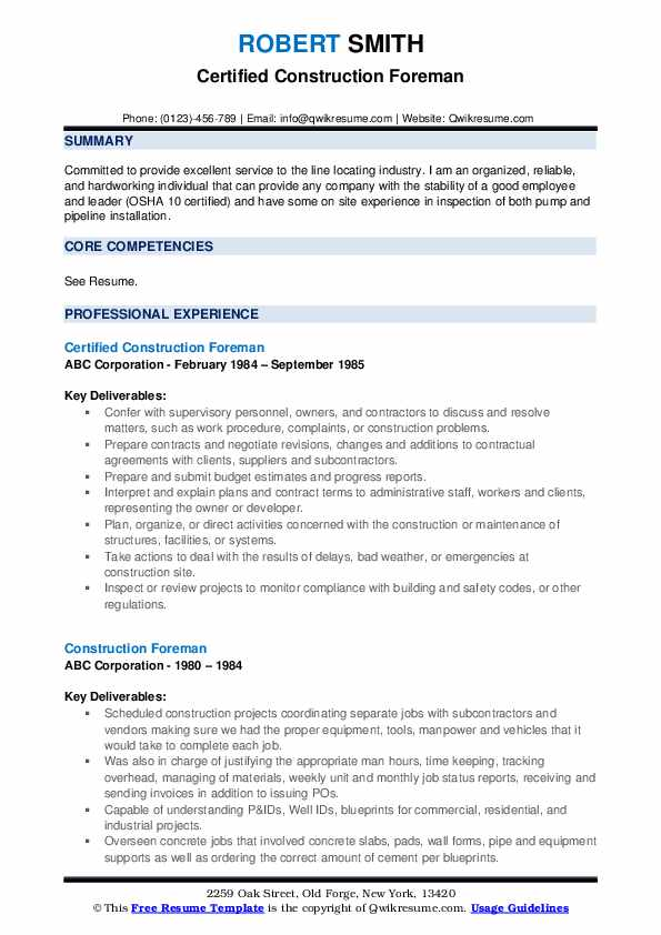 construction foreman resume samples qwikresume industry pdf good entry level janitor job Resume Construction Industry Resume