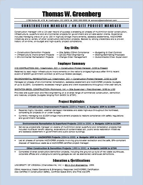 construction manager resume sample monster supervisor federal template fitness microsoft Resume Construction Supervisor Resume