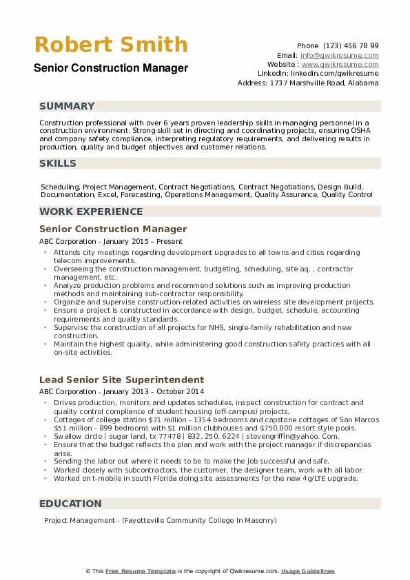construction manager resume samples qwikresume examples pdf experienced chartered Resume Construction Manager Resume Examples