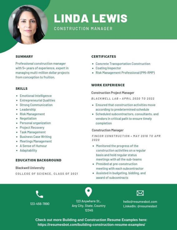 construction manager resume samples templates pdf resumes bot examples example for Resume Construction Manager Resume Examples