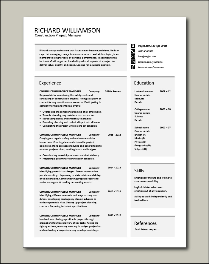 construction project manager resume example sample building work ability budget controls Resume Resume Format For Experienced Project Manager