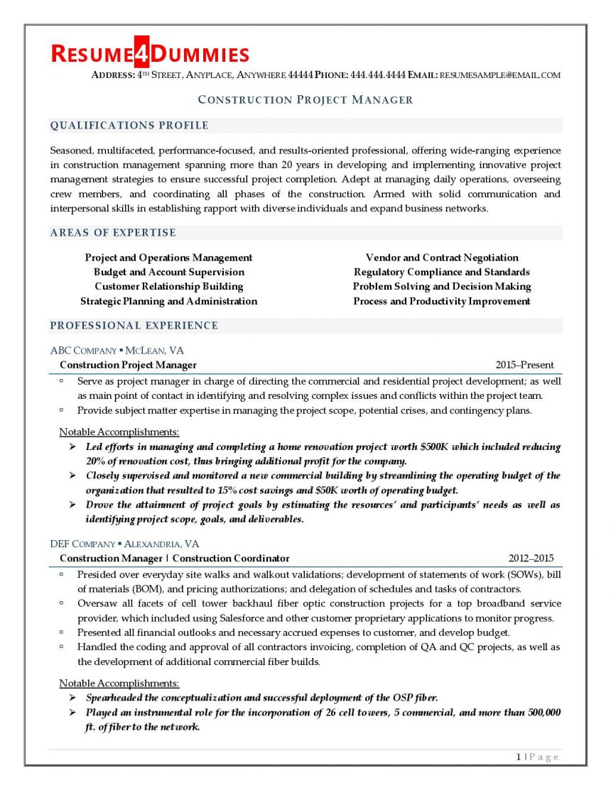 construction project manager resume resume4dummies management professional sample Resume Project Management Professional Resume Sample
