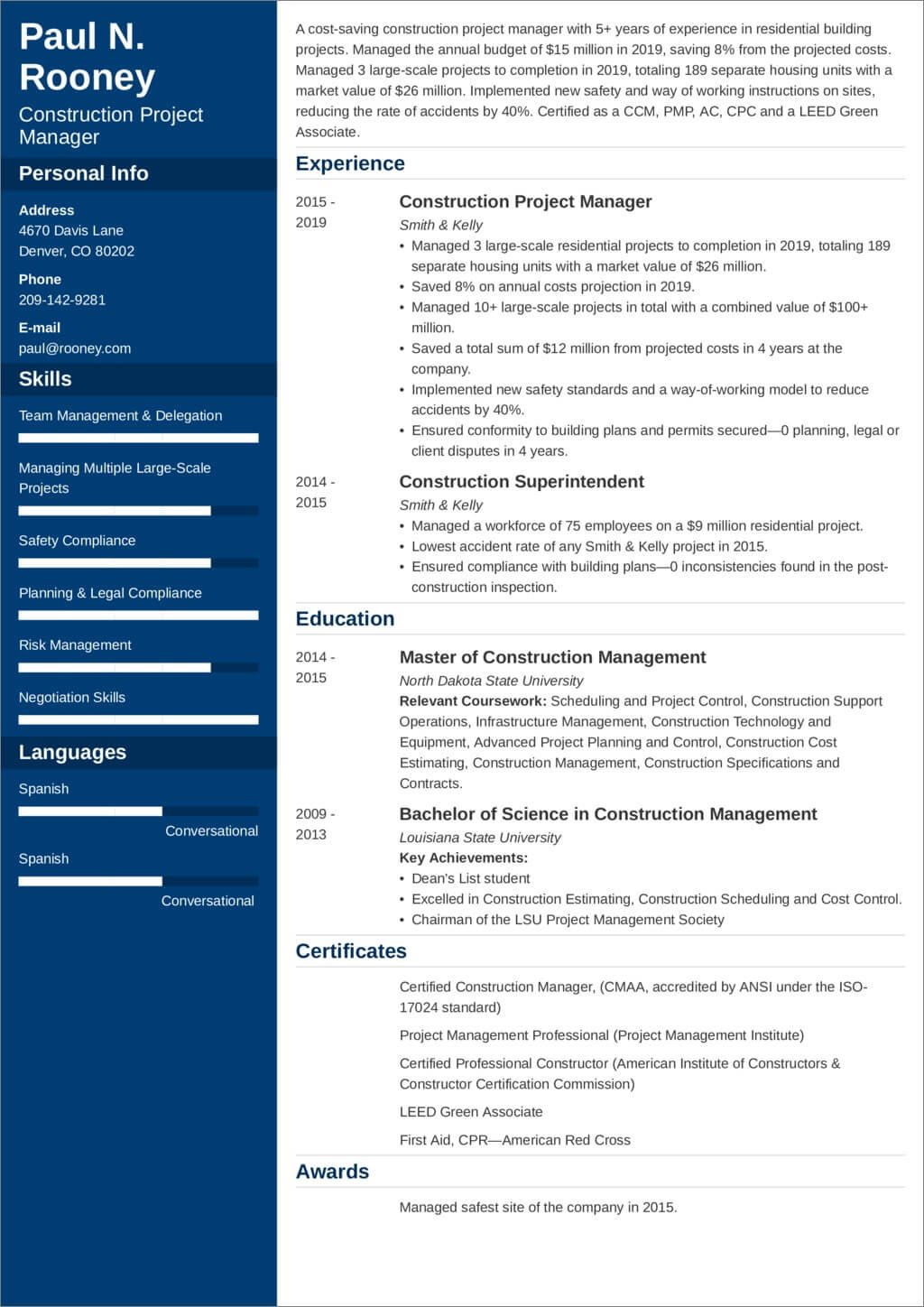 construction project manager resume sample and tips examples rl software testing for year Resume Construction Manager Resume Examples