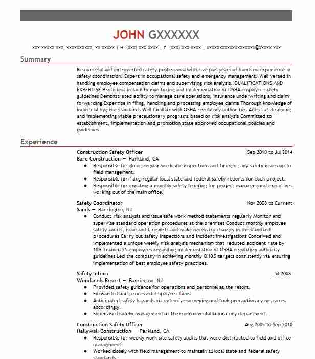 construction safety officer resume example livecareer experience dispensary manager Resume Safety Experience Resume