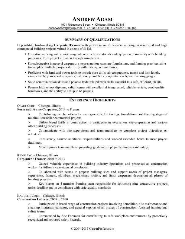construction worker resume sample monster industry procter and gamble format for film Resume Construction Industry Resume