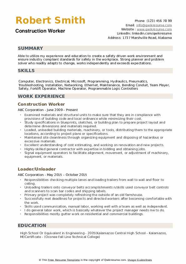 construction worker resume samples qwikresume examples pdf listing training courses on Resume Construction Resume Examples