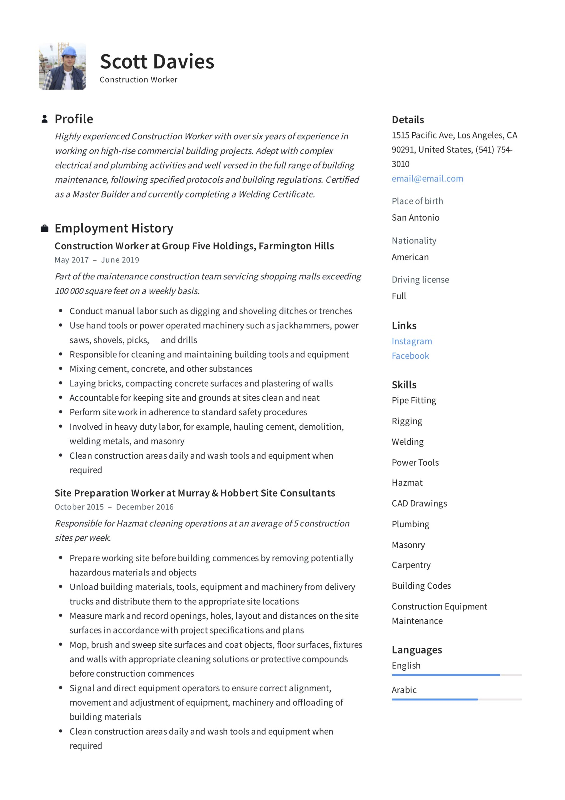 construction worker resume writing guide templates pipefitter clerical skills examples Resume Construction Pipefitter Resume