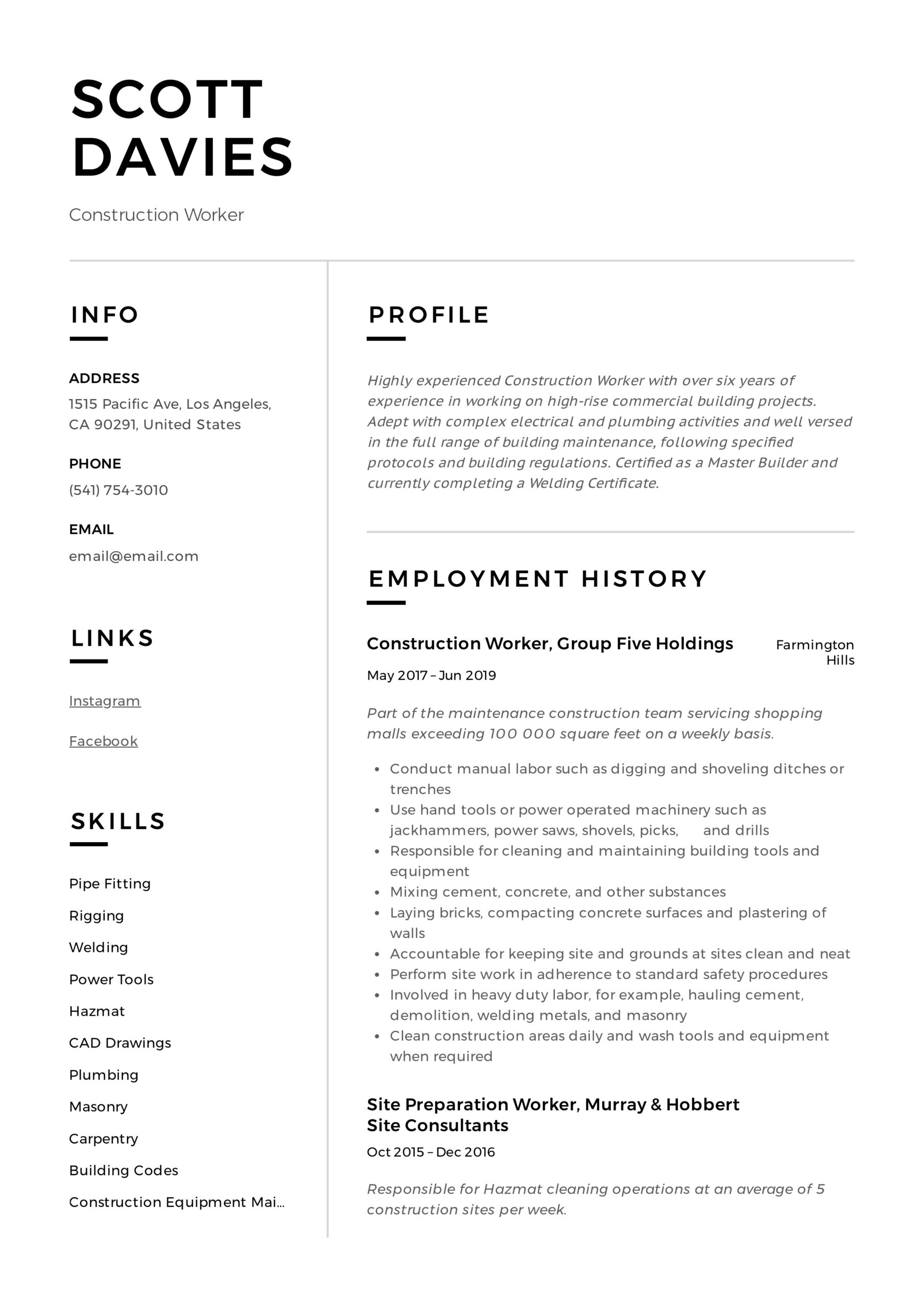 construction worker resume writing guide templates sample for building contractor Resume Sample Resume For Building Contractor