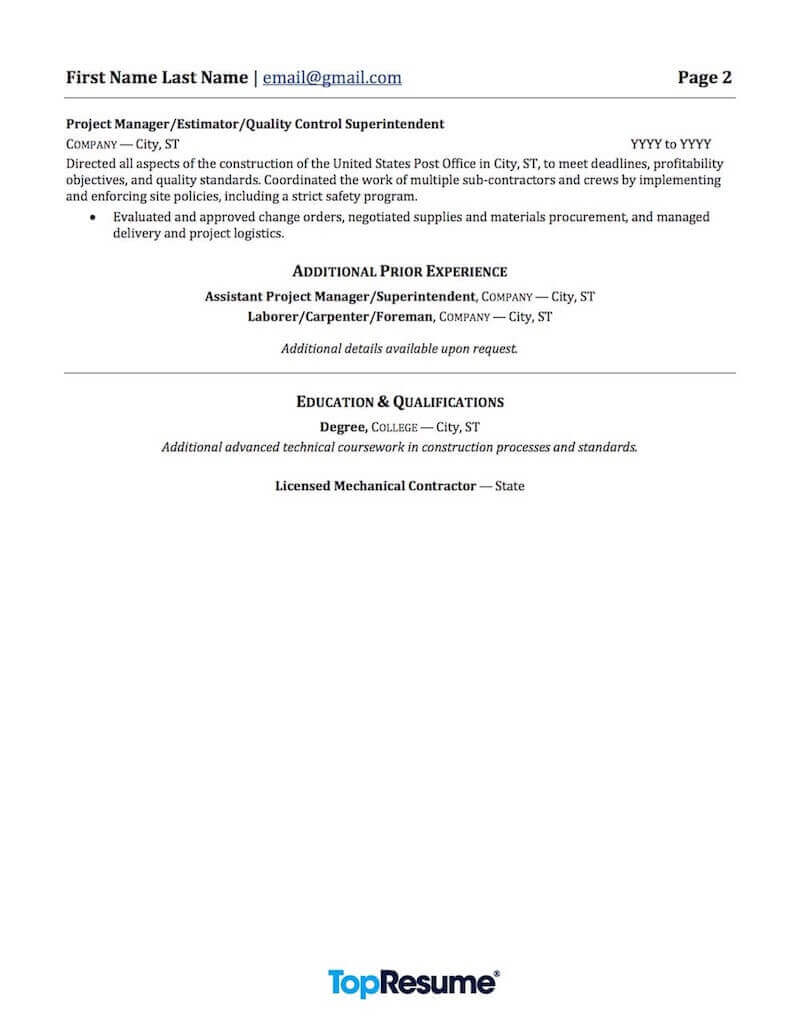 contractor and construction resume samples professional examples topresume industry Resume Construction Industry Resume