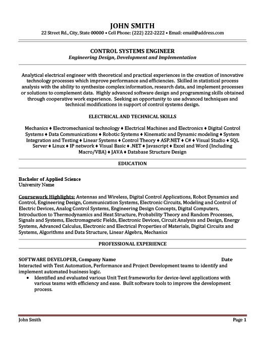 control systems engineer resume template premium samples example system format objective Resume System Engineer Resume Format