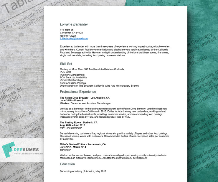 cool resume example for bartenders freesumes craft beer bartender front office job Resume Craft Beer Bartender Resume