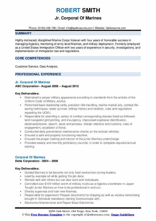 corporal of marines resume samples qwikresume marine corps skills for pdf special Resume Marine Corps Skills For Resume