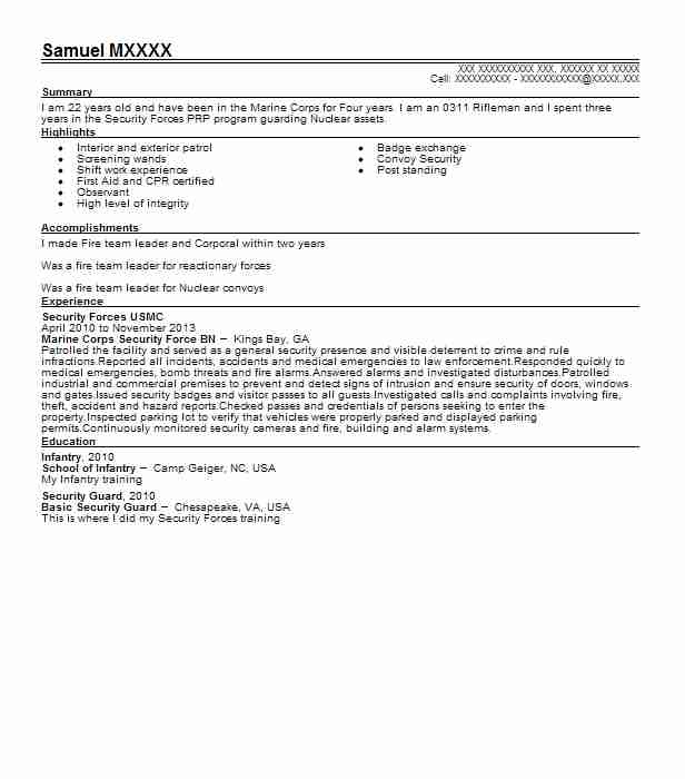 corporal usmc resume example marine corps skills for information security engineer sample Resume Marine Corps Skills For Resume