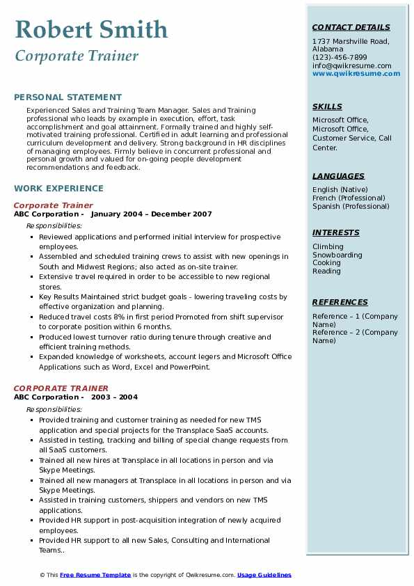 corporate trainer resume samples qwikresume examples pdf recommended length headline for Resume Corporate Resume Examples