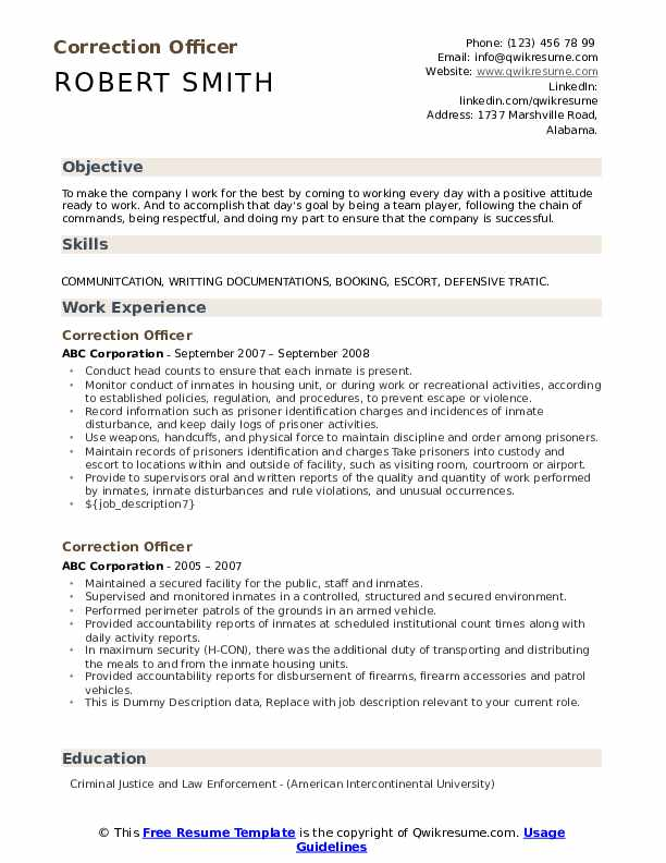 correction officer resume samples qwikresume correctional pdf apa style cover letter for Resume Correctional Officer Resume