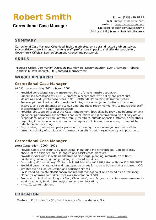 correctional case manager resume samples qwikresume pdf latex for science research simple Resume Correctional Case Manager Resume