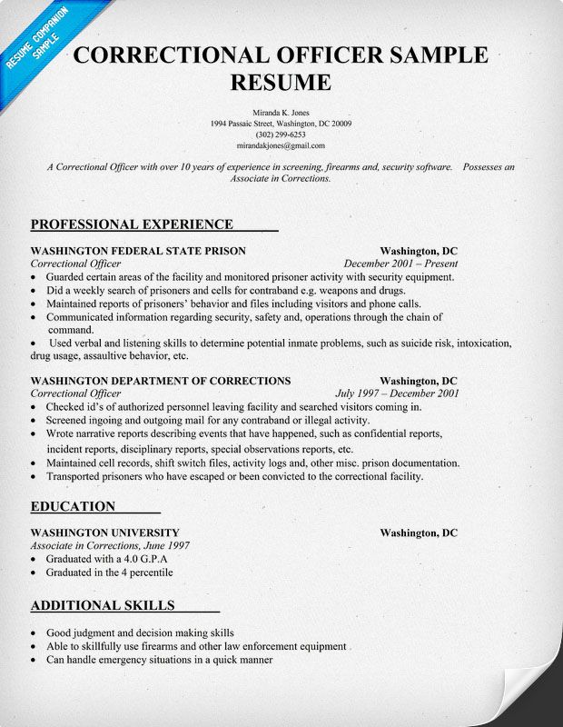 correctional officer resume sample companion writing examples medical assistant universal Resume Correctional Officer Resume