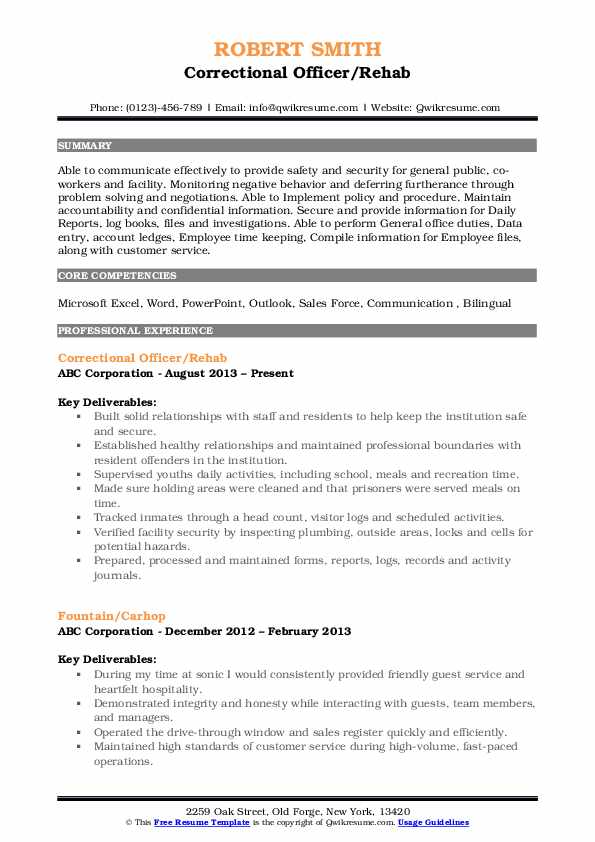 correctional officer resume samples qwikresume duties and responsibilities pdf concrete Resume Correctional Officer Duties And Responsibilities Resume