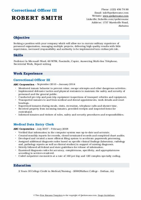 correctional officer resume samples qwikresume duties and responsibilities pdf ojt sample Resume Correctional Officer Duties And Responsibilities Resume