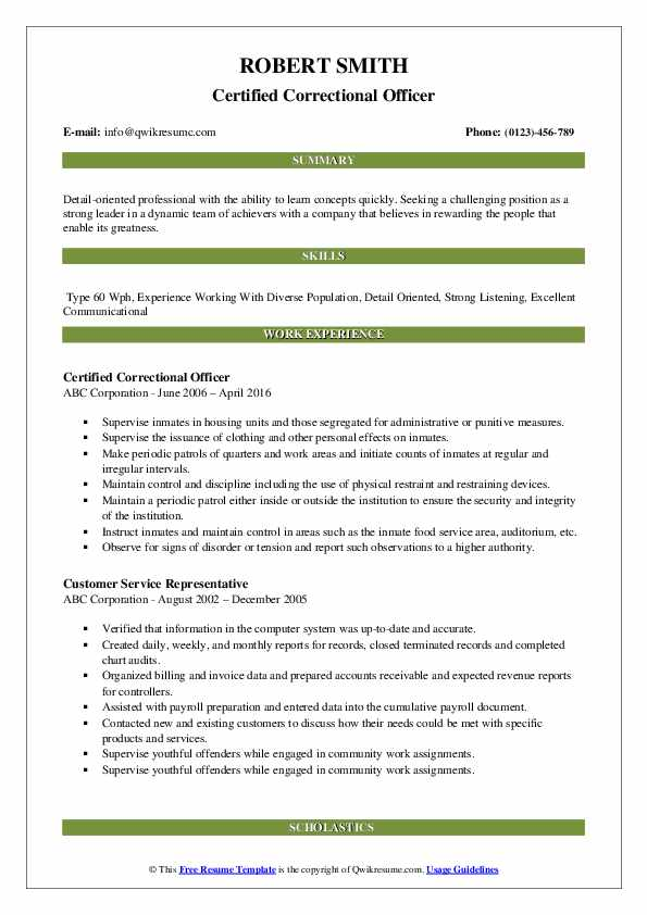 correctional officer resume samples qwikresume pdf finance director retiree examples Resume Correctional Officer Resume