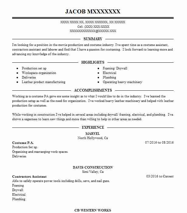 costume assistant resume example western company beekeeper good templates specific Resume Costume Assistant Resume