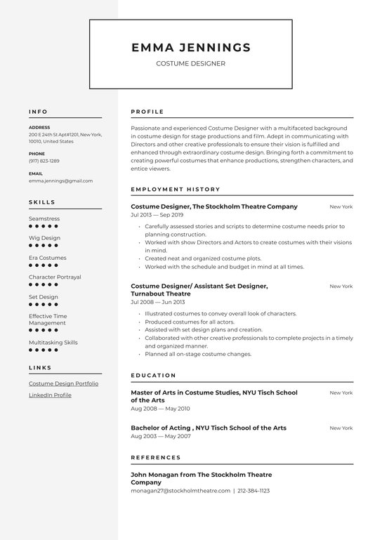 costume designer resume examples writing tips free guide io assistant create for teenager Resume Costume Assistant Resume