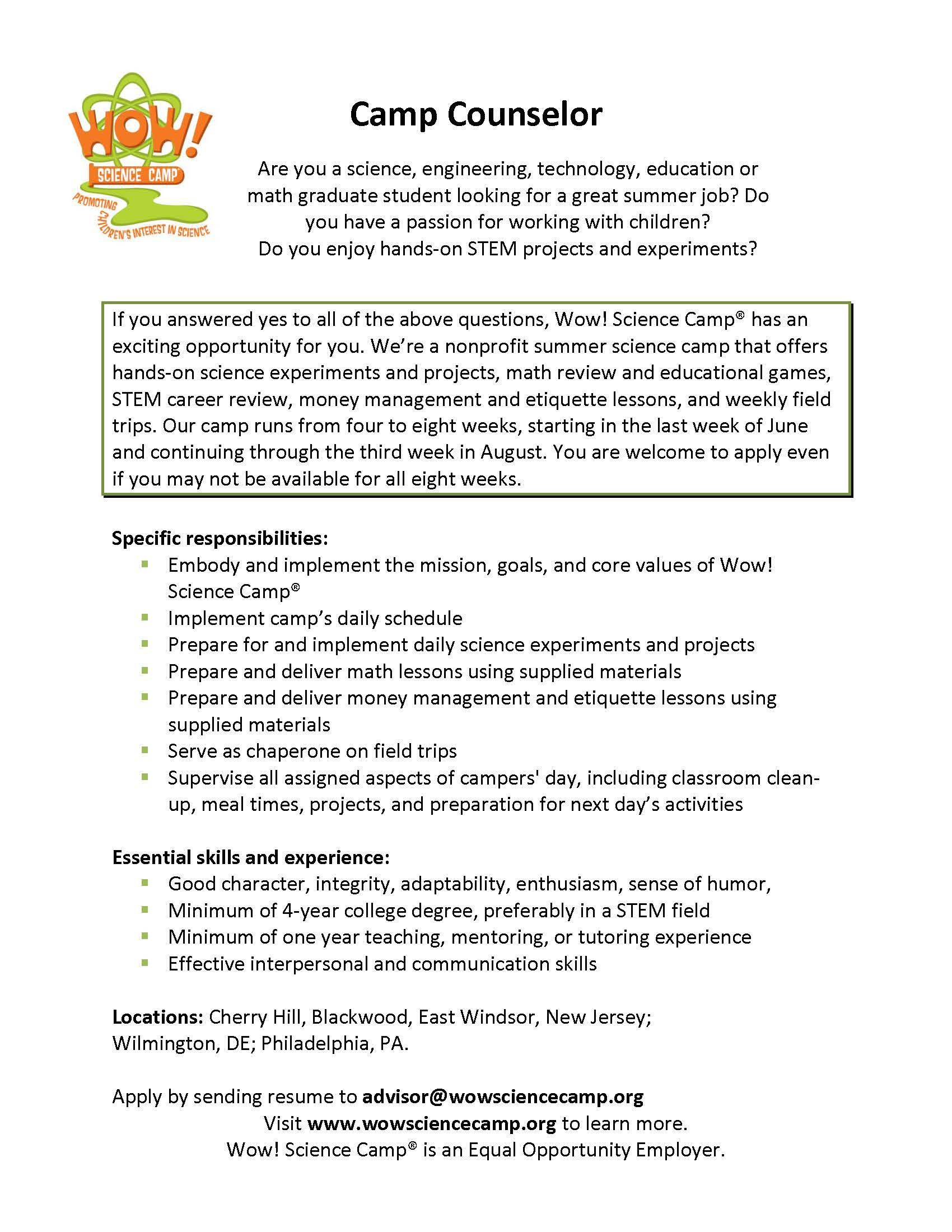 counselor talk of townsend description for resume study abroad experience on example Resume Description Of Camp Counselor For Resume