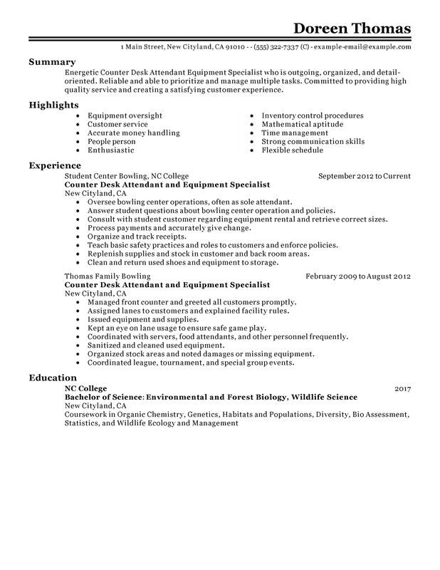 counter desk attendant equipment specialist resume examples free to try today Resume Food Safety Specialist Resume