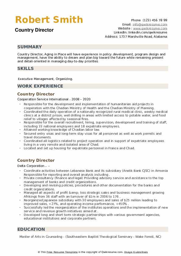 country director resume samples qwikresume template pdf auto underwriter traditional navy Resume Wake Forest Resume Template